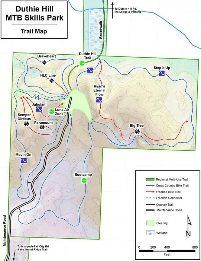 Duthie Hill MTB Skills Park Mountain Biking Map