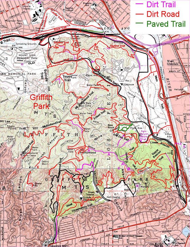 Griffith Park Horseback Riding Map
