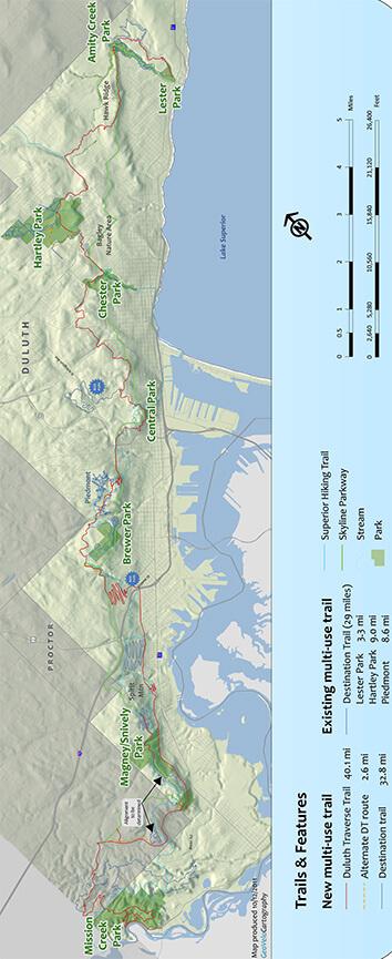 Duluth Traverse Trail Mountain Biking Map