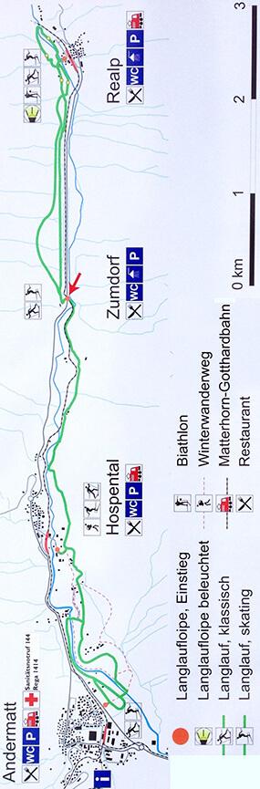 Andermatt Cross Country Skiing Map