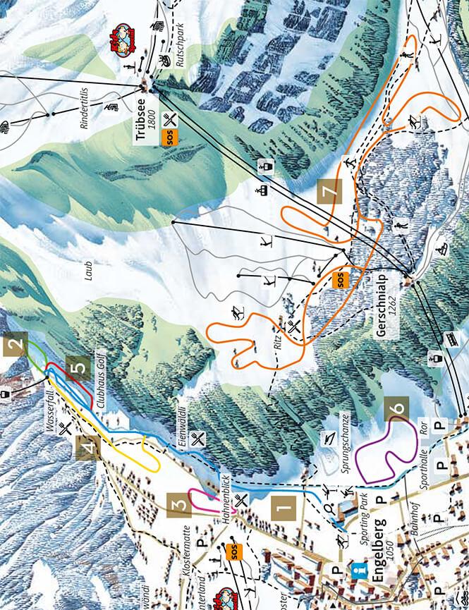 Engelberg Cross Country Skiing Map