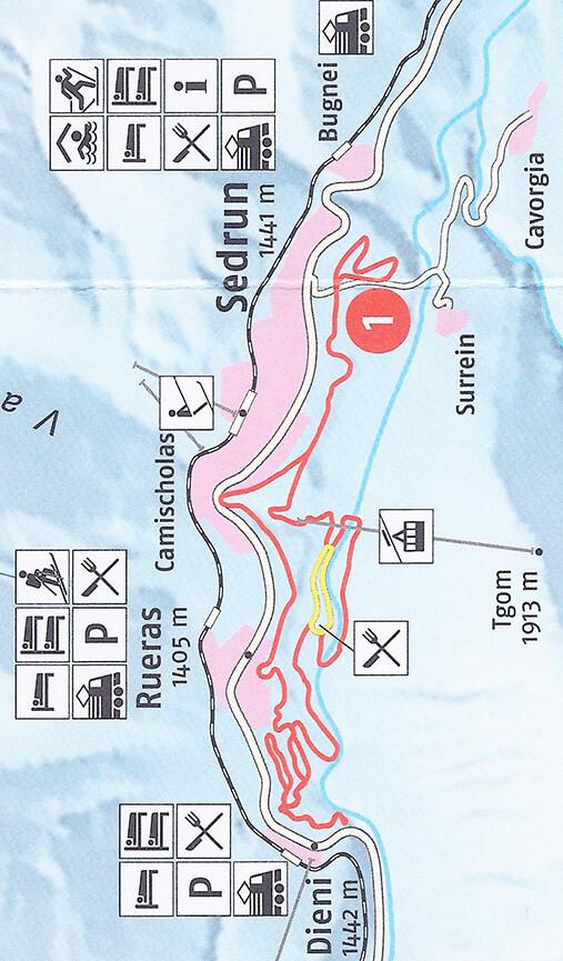 Sedrun Cross Country Skiing Map