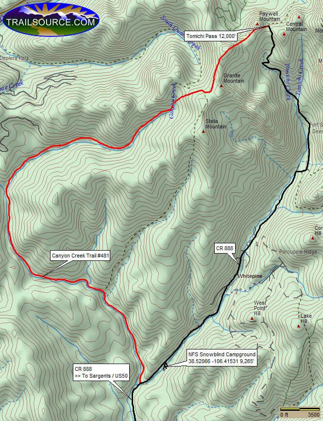 Canyon Creek Trail Mountain Biking Map