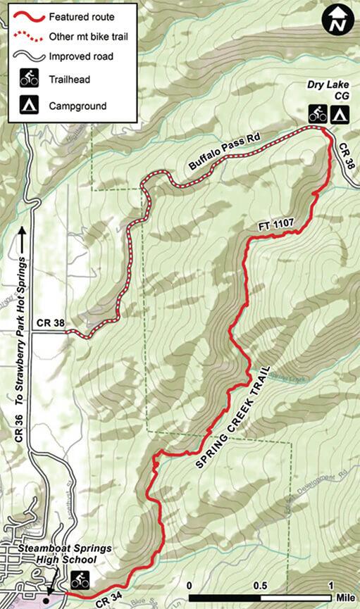 Spring Creek Trail Mountain Biking Map