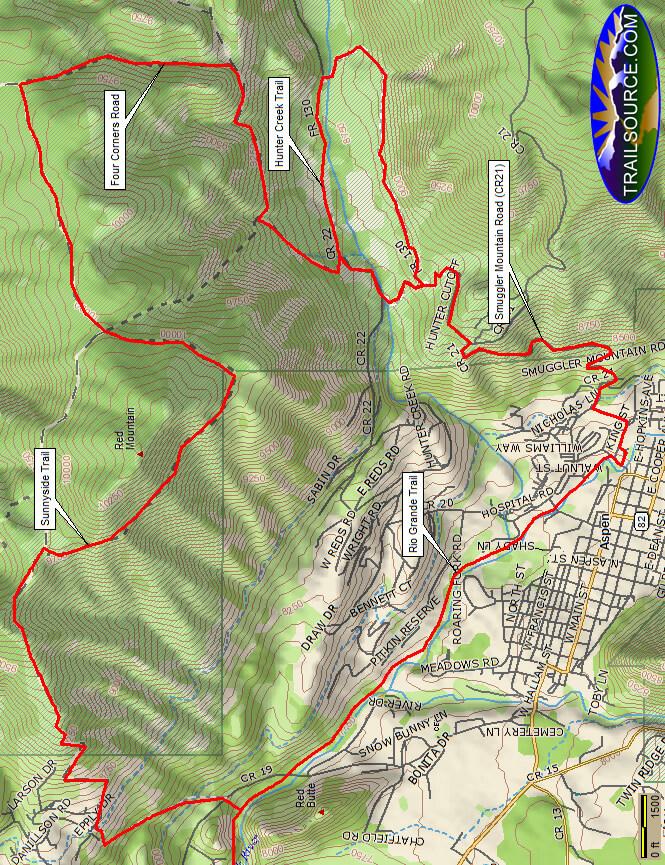 Sunnyside Loop Mountain Biking Map