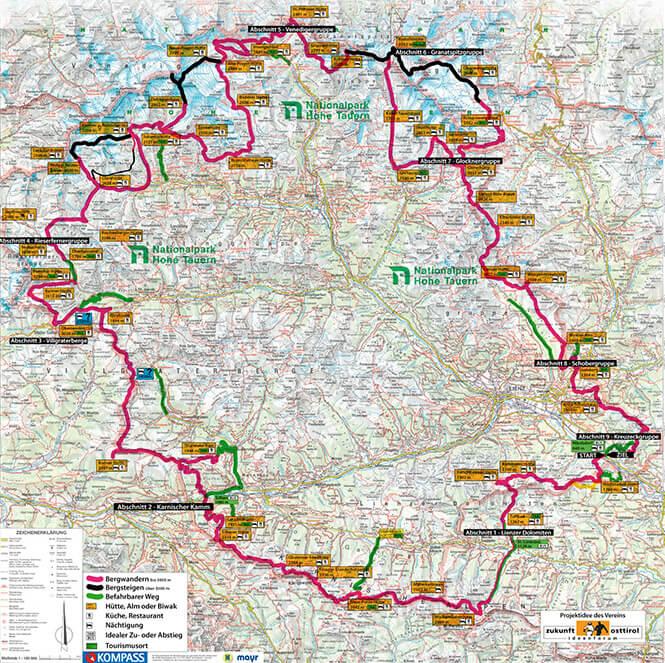 Osttirol 360 Skyline Trail Hiking Map