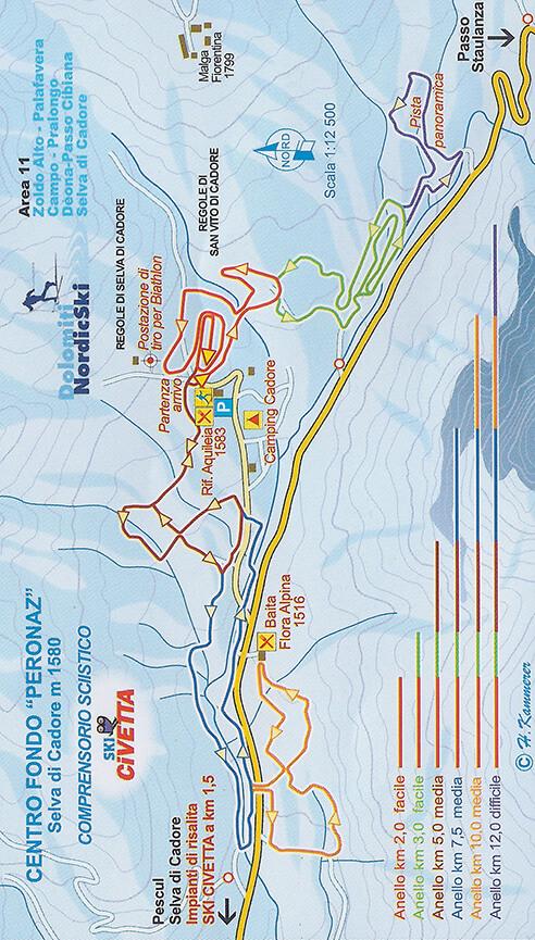 Centro Fondo Peronaz Cross Country Skiing Map