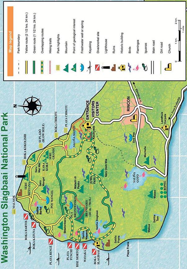 Washington Slagbaai National Park Hiking Map
