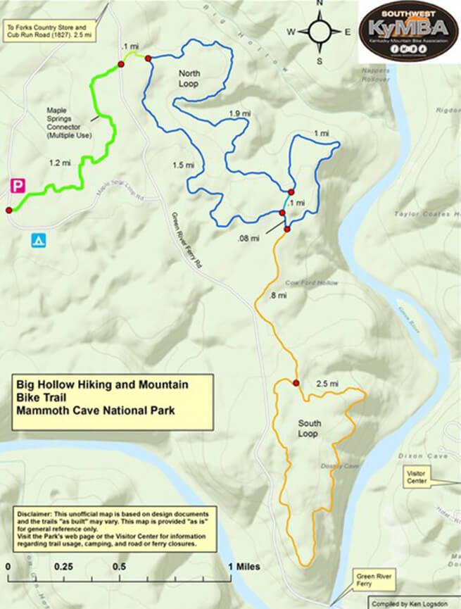 Big Hollow Trail Mountain Biking Map