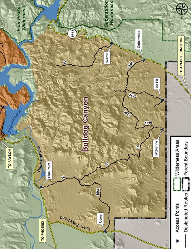 Bulldog Canyon OHV Area ATV Trails Map