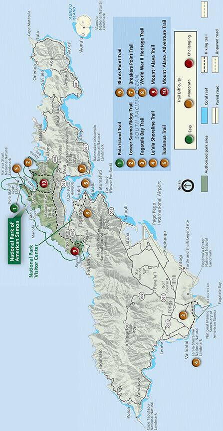 National Park Of American Samoa Hiking Map