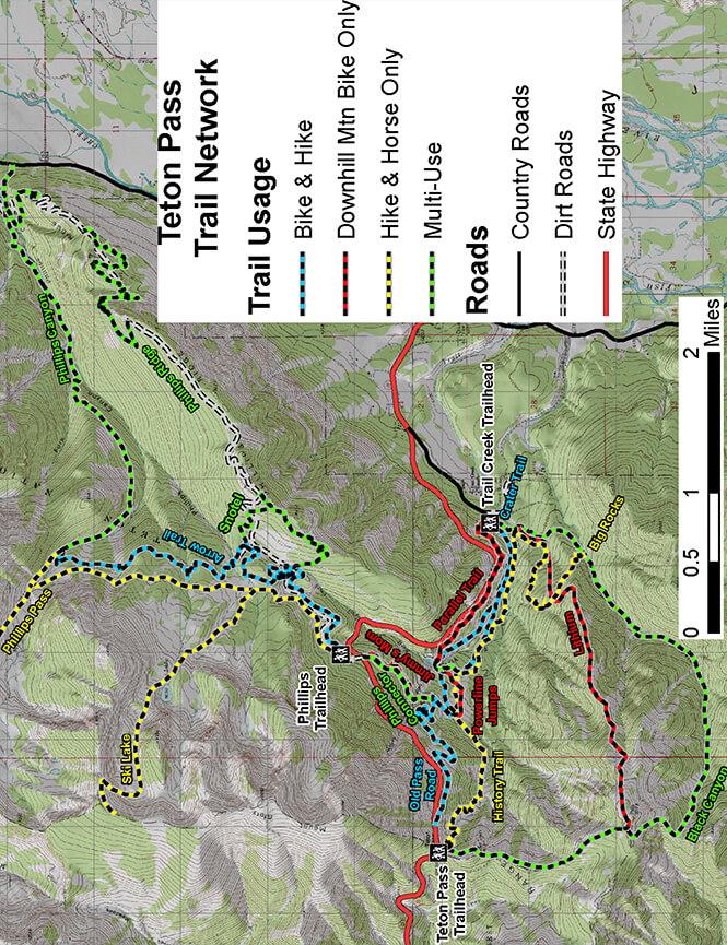 Teton Pass Trail Network Mountain Biking Map