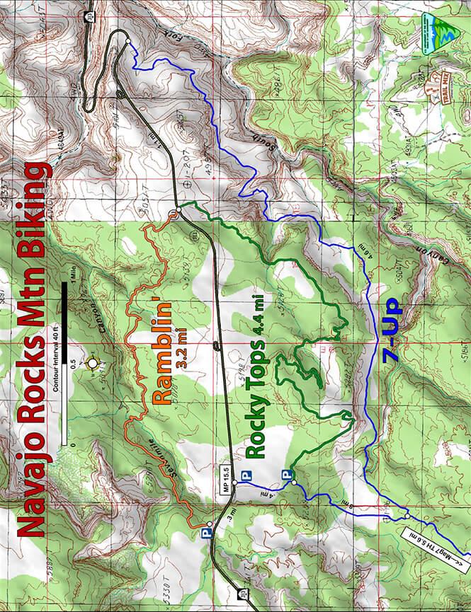 Navajo Rocks Mountain Biking Map