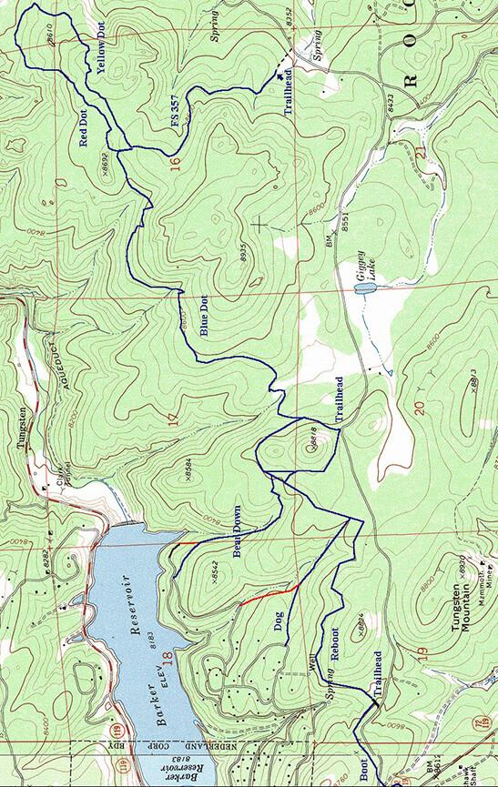 Blue Dot Trail Mountain Biking Map