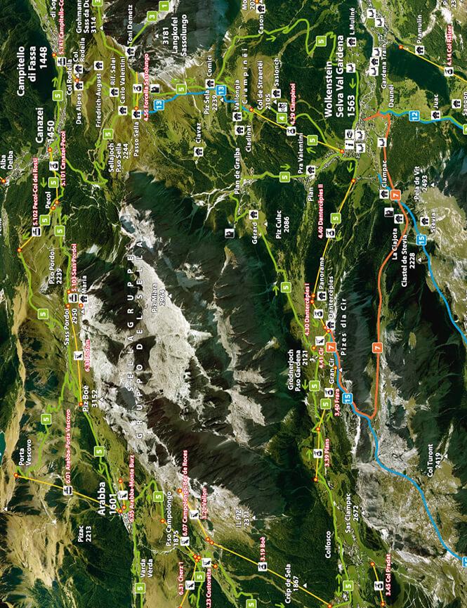 Sella Ronda Mountain Biking Map