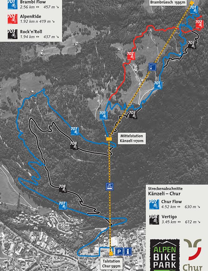 Alpen Bike Park Chur Mountain Biking Map