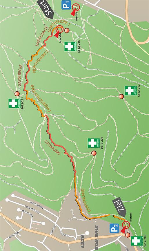 Emser Flowline Trail Mountain Biking Map
