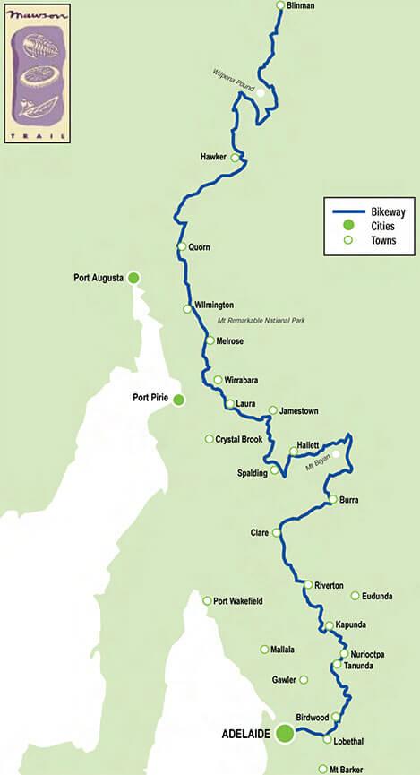 Mawson Trail Mountain Biking Map