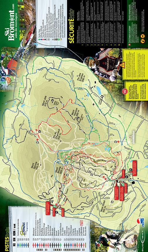 Bromont Ski Area Mountain Biking Map