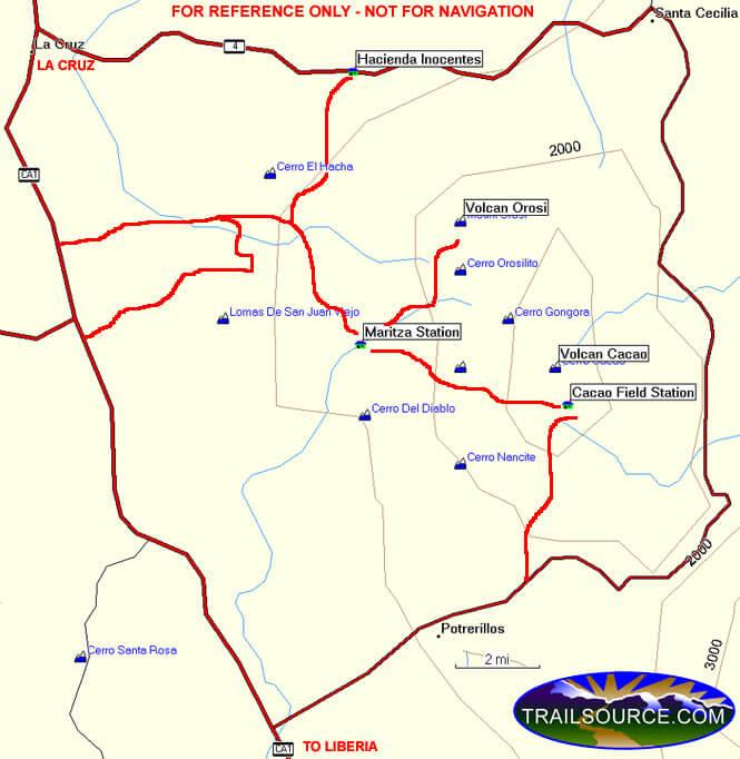 Guanacaste National Park Mountain Biking Map