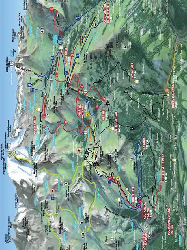 Courchevel Centre VTT Mountain Biking Map