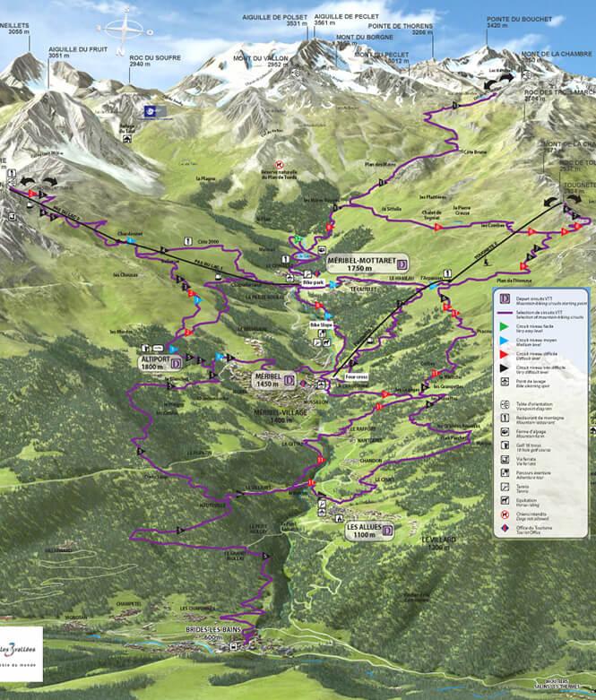 Meribel Centre VTT Mountain Biking Map