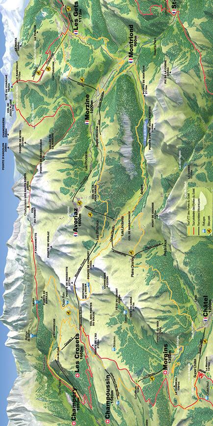Portes Du Soleil Mountain Bike Area Mountain Biking Map