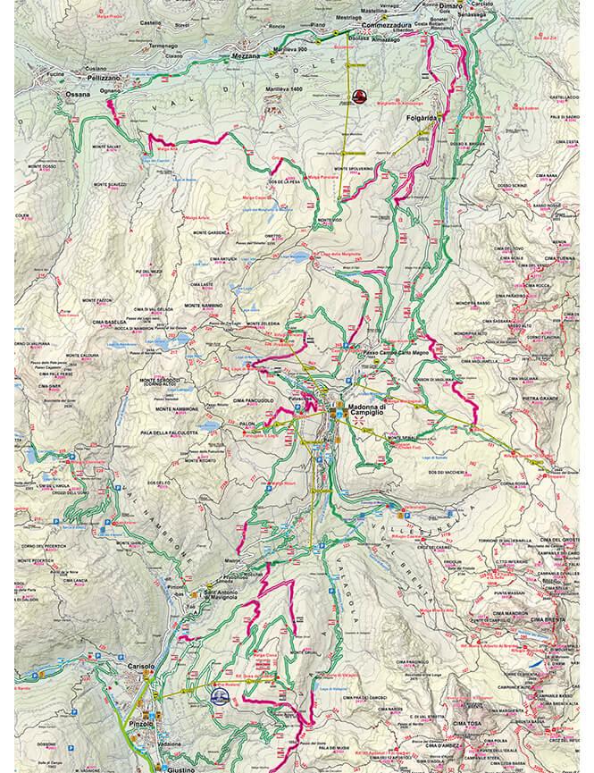 Madonna Di Campiglio Mountain Biking Map