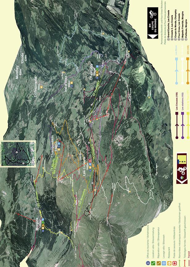 Champrey - Crosets - Morgins Mountain Biking Map