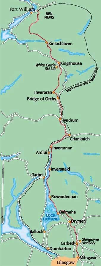 West Highland Way Mountain Biking Map