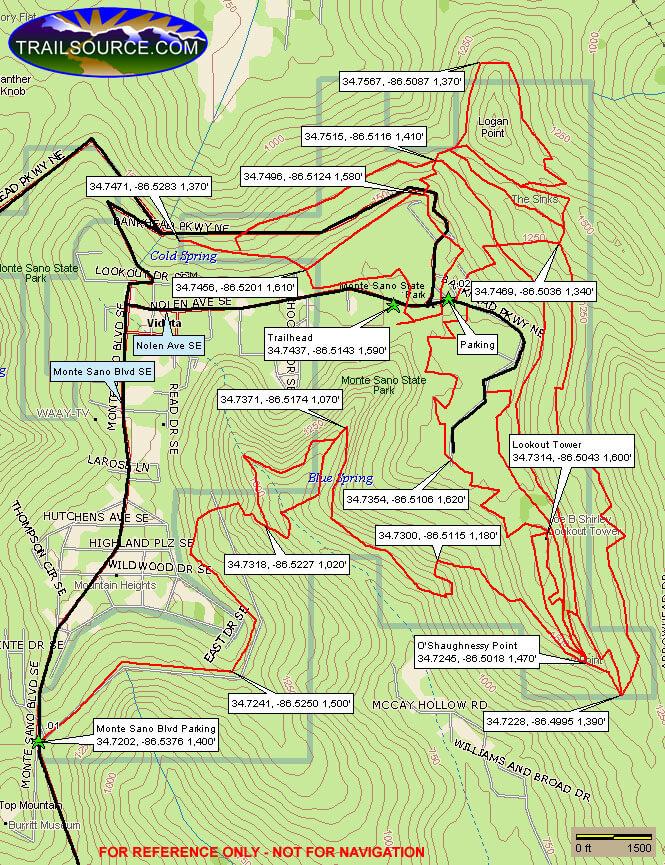 Monte Sano State Park Mountain Biking Map