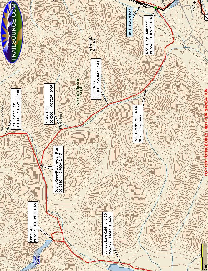 Devils Pass Trail Mountain Biking Map