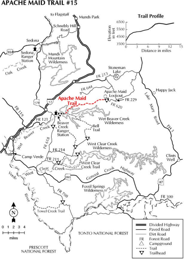 Apache Maid Trail Mountain Biking Map