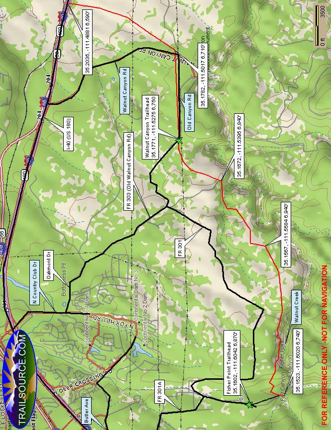 Arizona Trail - Marshall Lake Mountain Biking Map