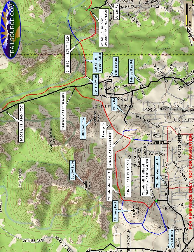 Soldiers Pass / Secret Trail Mountain Biking Map