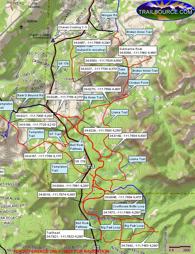 Bell Rock-Llama-Submarine Mountain Biking Map