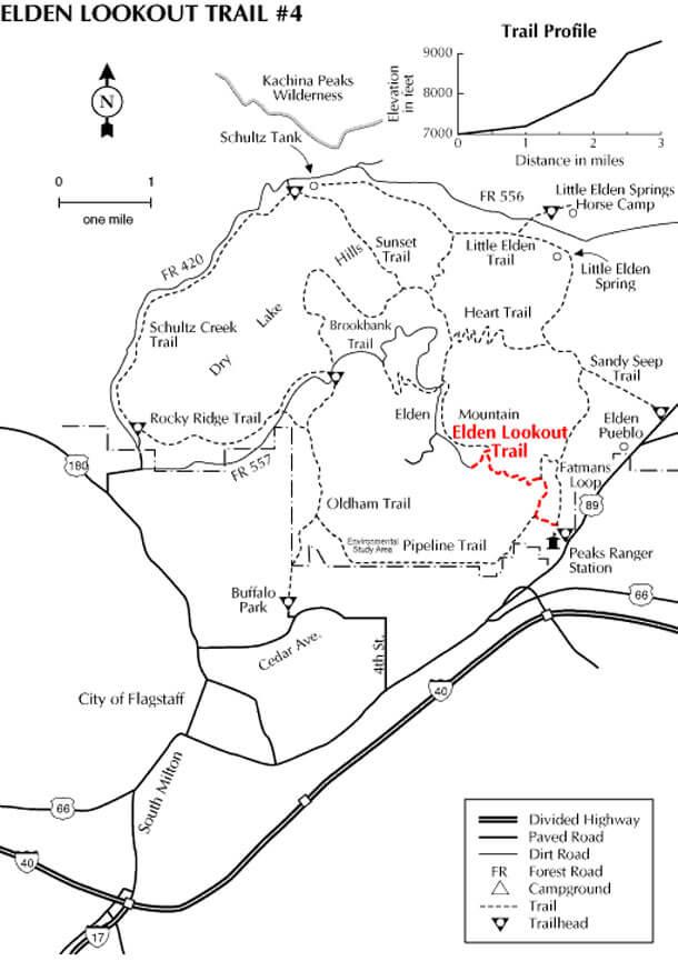 Mount Elden Trail System Mountain Biking Map