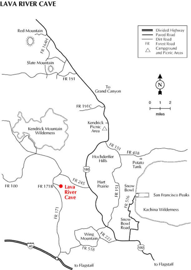 Wing Mountain / Lava River Cave Mountain Biking Map