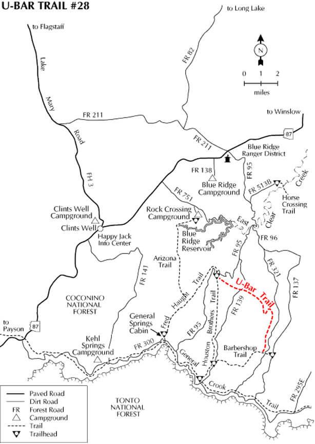 U-Bar / Barbershop Trail Mountain Biking Map