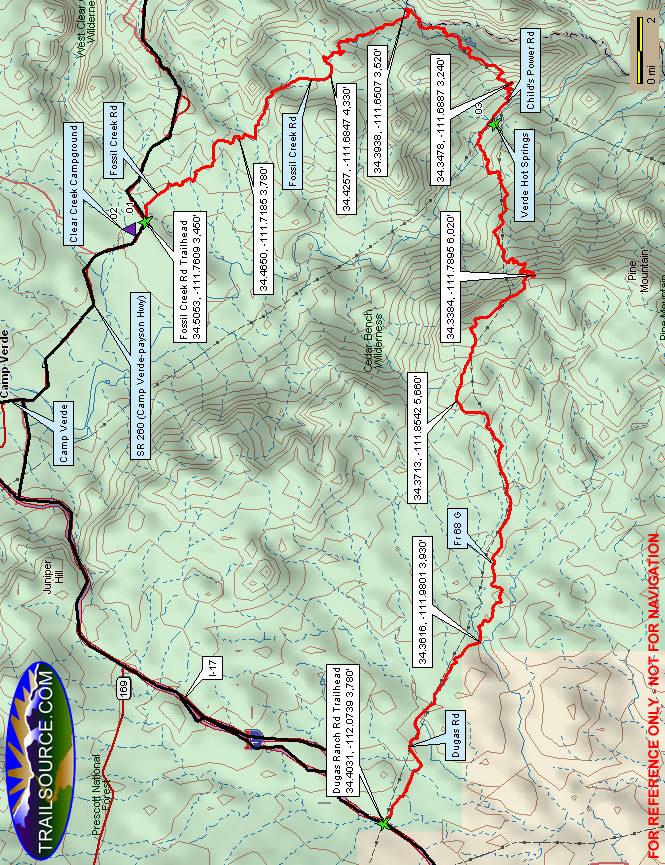 Verde Hot Springs Mountain Biking Map