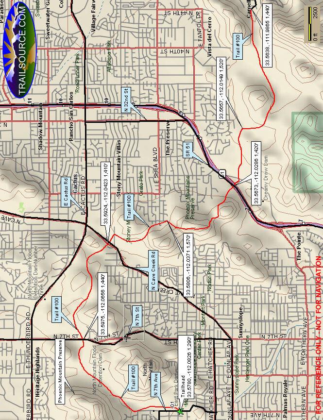 Phoenix Mountain Preserve Trail Mountain Biking Map