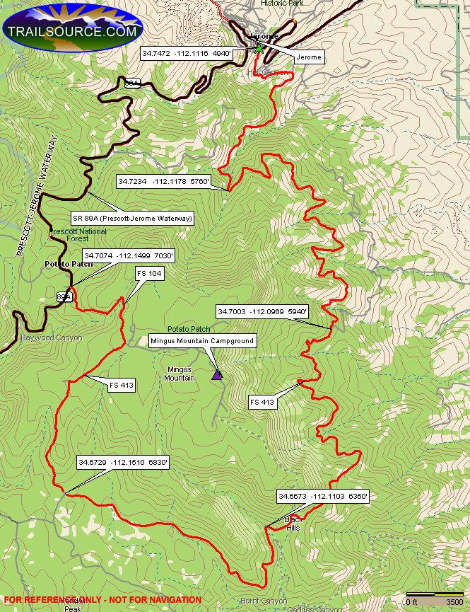 Mingus Mountain Loop Mountain Biking Map