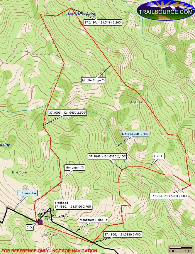 Middle Ridge Trail Mountain Biking Map