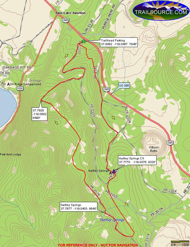 Hartley Springs Mountain Biking Map