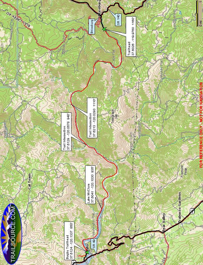 Merced River Trail Mountain Biking Map