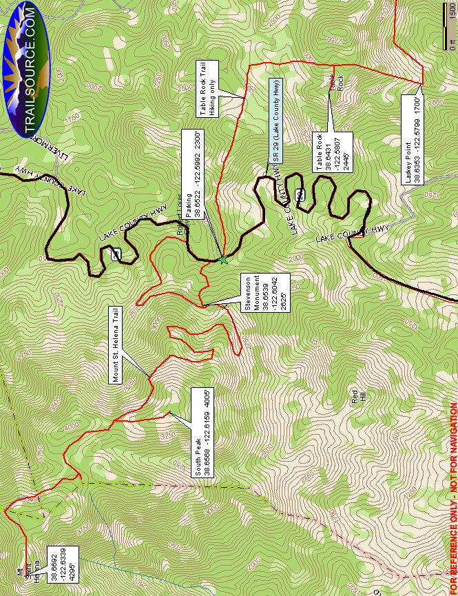 Mount St. Helena Trail Mountain Biking Map