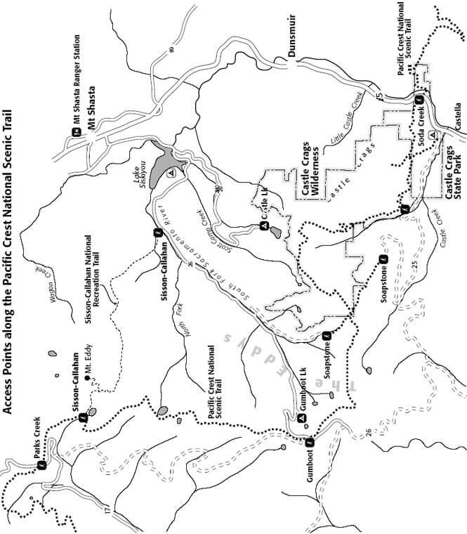Castle Crags Mountain Biking Map