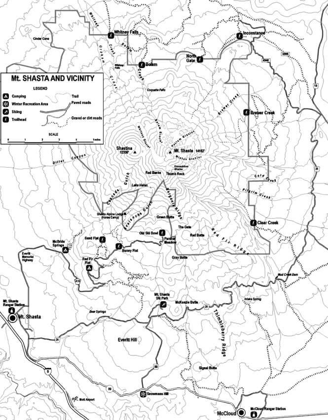 Mount Shasta Loop Mountain Biking Map