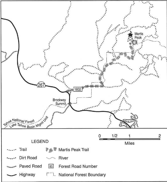 Martis Peak Lookout Mountain Biking Map