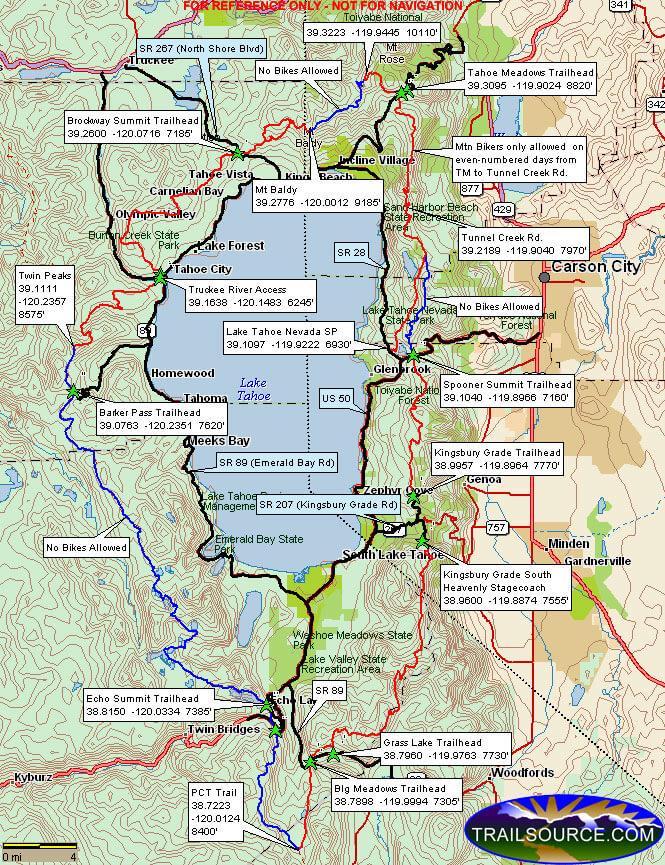 Tahoe Rim Trail Mountain Biking Map